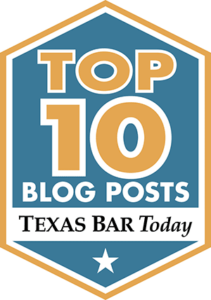 badge graphic with the words top 10 blog posts texas bar today.